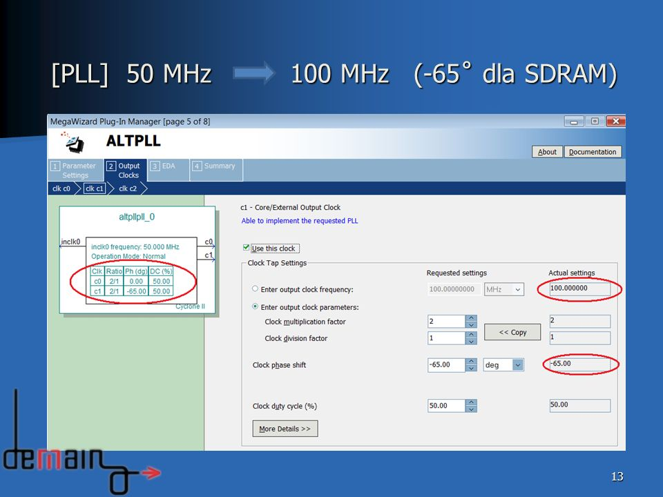 [PLL] 50 MHz 100 MHz (-65˚ dla SDRAM)